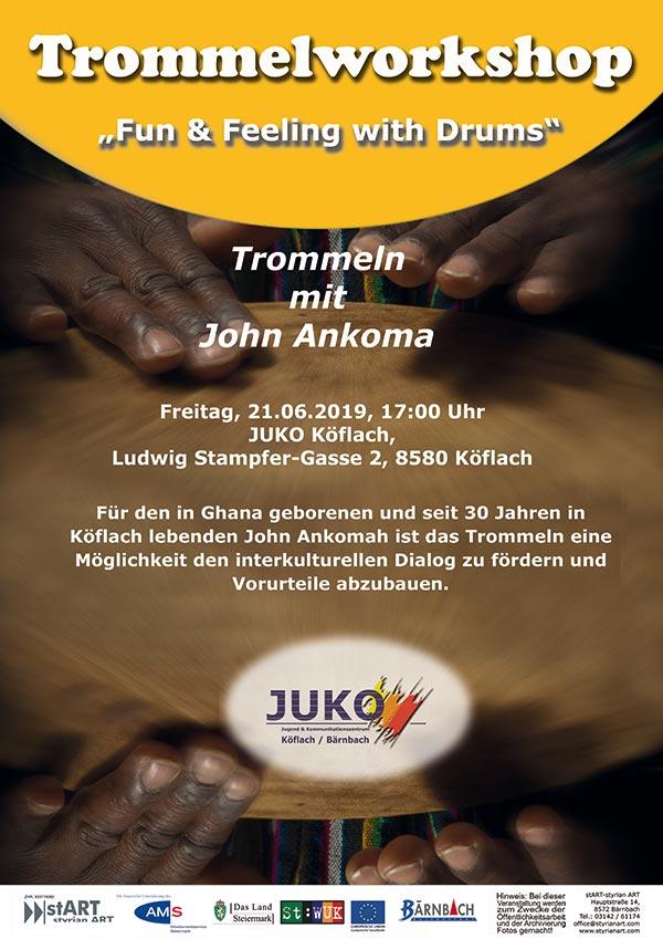 Trommelworkshop mit John Ankoma @ JUKO Köflach | Köflach | Steiermark | Österreich